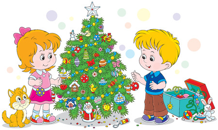 adorning: Children decorating a Christmas tree