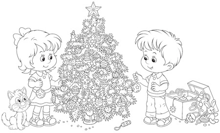 adorning: Little girl and boy decorate a Christmas tree Illustration