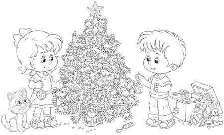 gemelos ni�o y ni�a: Ni�a y ni�o de decorar un �rbol de Navidad