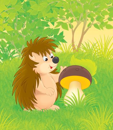 cartoon hedgehog: hedgehog with a mushroom in a forest glade