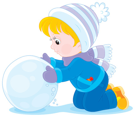 pre teen: Child with a snowball