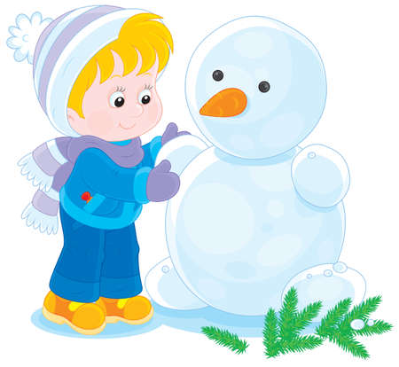 Little boy or girl making a funny snowman Vector