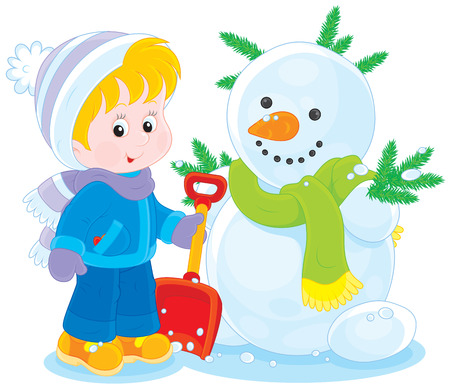 Child and snowman Vector