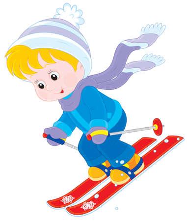 niños saliendo de la escuela: Esquí del niño hacia abajo Vectores