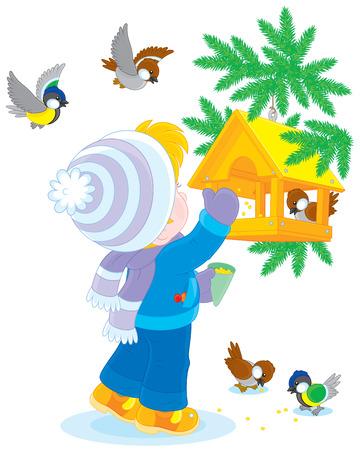 tomtit: Child feeds birds Illustration