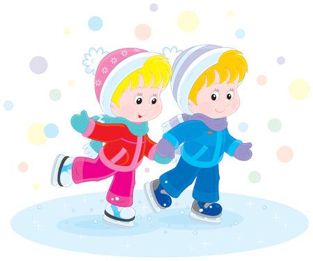 kindergartner: Children skating Illustration