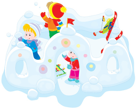 infancy: Children playing snowballs in a snow fortress