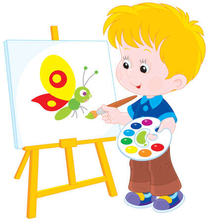 infancy: Boy drawing a picture with a funny butterfly