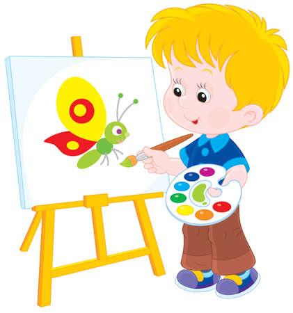enfants peinture: Gar�on dessiner une image avec un papillon dr�le Illustration