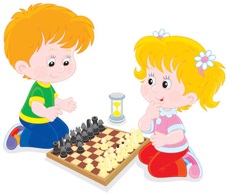 cartoon little girl: Children play chess