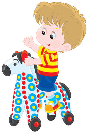 kindergartner: Boy riding on a colorful toy horse