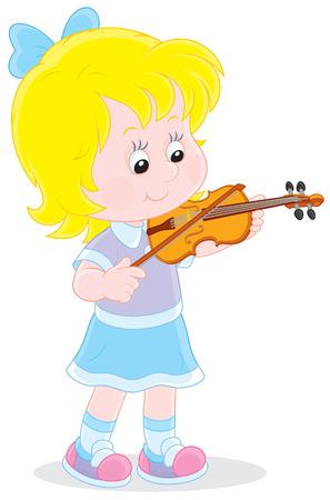 kindergartner: Girl playing her small violin
