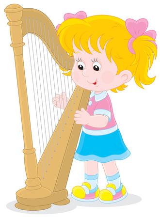 Little girl playing a big harp Illustration