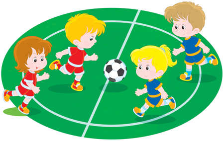 young schoolchild: Children playing football Illustration