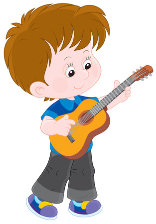 toddler playing: Little guitarist