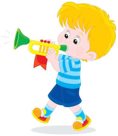 toddler playing: Boy blowing a small trumpet