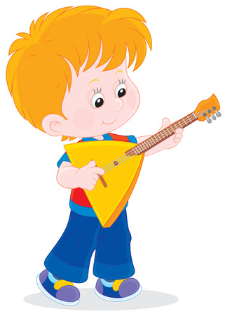 Boy playing a balalaika Vector