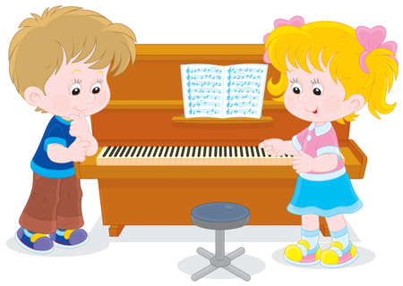 upright piano: Little girl and boy playing a piano  Illustration