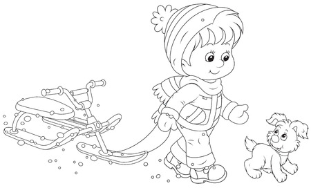 Child walking with a snow scooter Vector