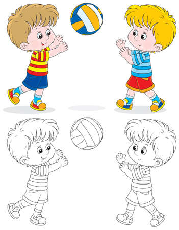outlined: volleyball players Illustration