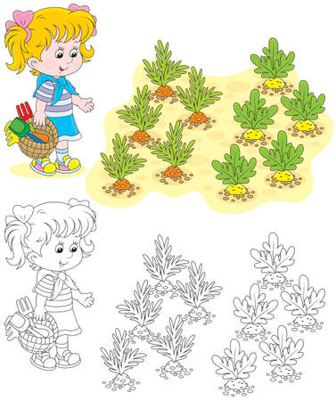 girl with garden instruments in her kitchen garden Vector
