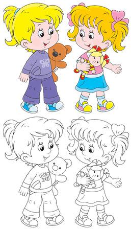 kleine meisjes: Kleine meisjes spelen met hun pop en teddybeer