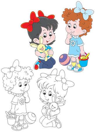 baby playing toy: Girls playing