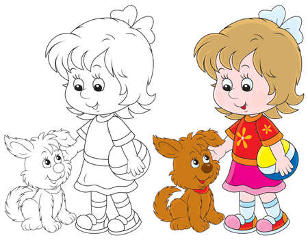 niños: Niña y cachorro Vectores