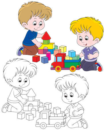 Little boys playing with a toy truck and bricks Vector