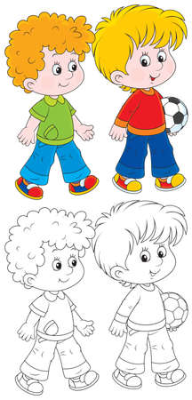 footballs: Little boys going to play football Illustration
