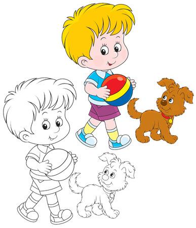 welpe: Kleiner Junge, der mit seinem Welpen