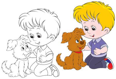 niños jugando caricatura: Niño jugando con su perrito marrón
