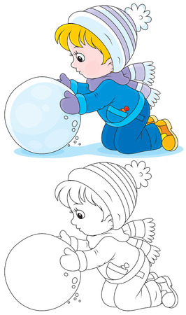 boule de neige: Enfant fait une grosse boule de neige
