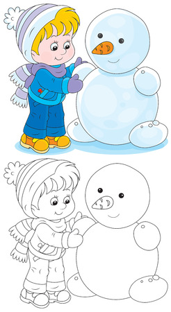 winter fun: Kind maakt een sneeuwpop Stock Illustratie