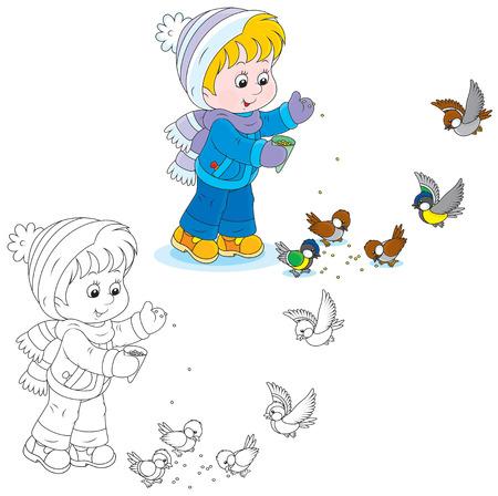chickadee: Child feeds birds Illustration