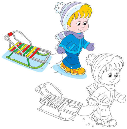 kindergartner: Child walks with a sleigh