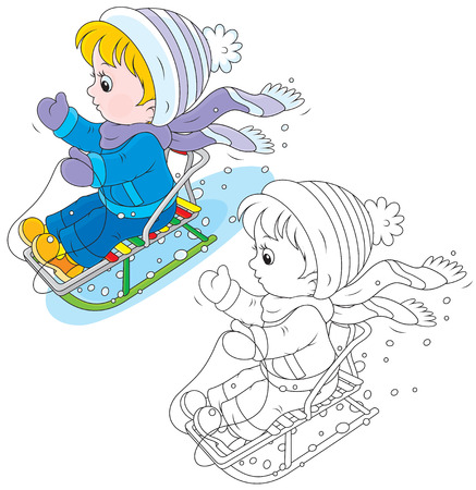Child sleighing Vector