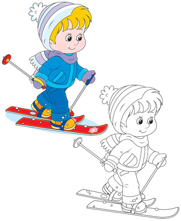 cartoon little girl: Child skiing