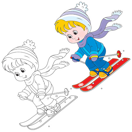 Child skiing down Vector