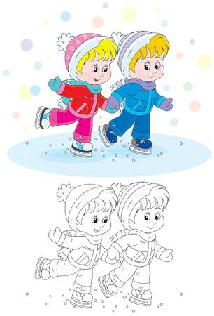 ice rink: Children skating Illustration