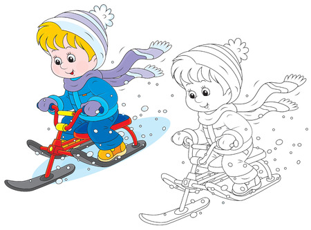sledging: Child on a snow scooter Illustration