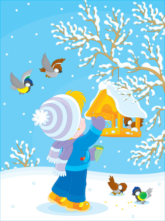 tot: Child feeds titmice and sparrows Illustration
