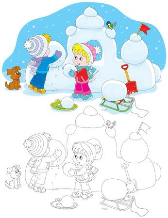 kindergartener: Children building a snow fort Illustration