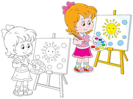 bambin: Fille de dessiner une image avec un soleil jaune de sourire