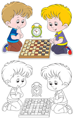 checkers: Children play checkers