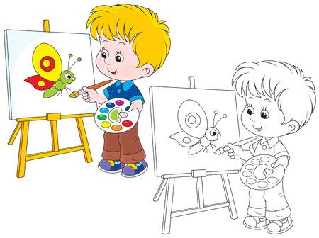 artist's canvas: Little artist draws Illustration