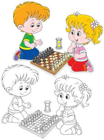 jugando ajedrez: Ni�o y ni�a jugando al ajedrez