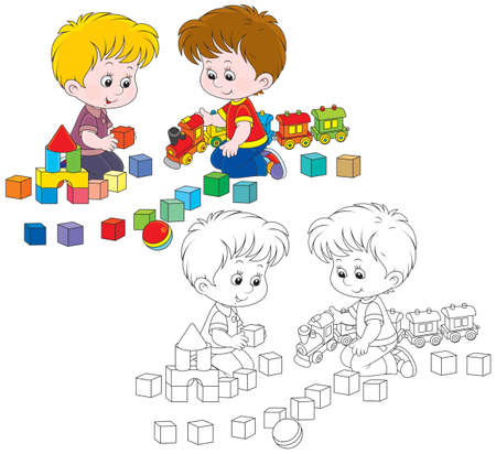 childrens playing: Little boys play with a toy train and bricks Illustration