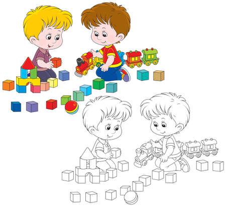 black block: Los ni�os peque�os juegan con un tren de juguete y ladrillos