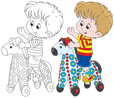 Boy riding on a colorful toy horse Vector